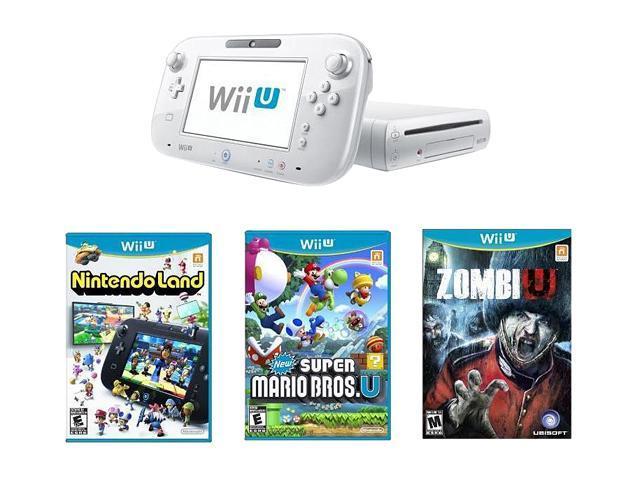 Nintendo Wii U Nintendoland, New Super Mario Bros Wii U and ZombiU Bundle White White