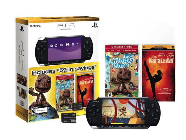 SONY PlayStation Portable Bundle w/Little Big Planet, Karate Kid UMD and 1GB SD Card Black
