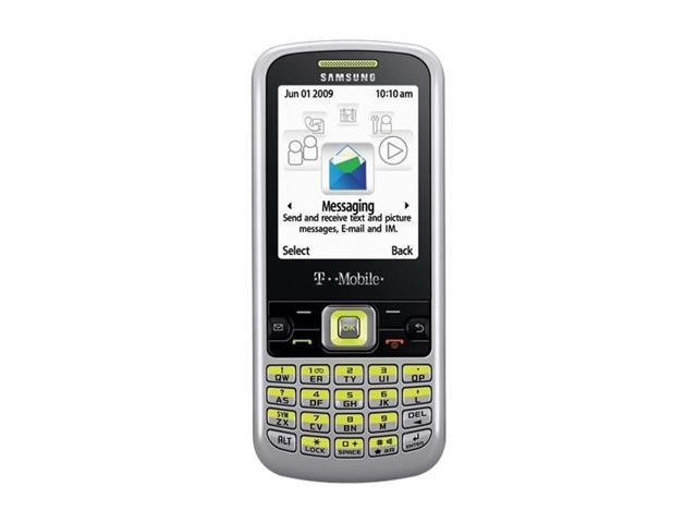 """Samsung SGH-T349 50 MB Unlocked GSM Bar Phone with QWERTY Keyboard 2.2"""" Silver/Lime"""
