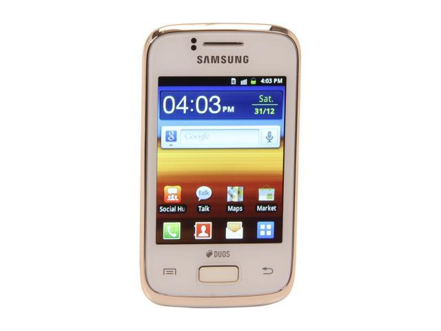"Samsung Galaxy Y Duos GT-S6102B 160 MB user available, 512 MB ROM, 290 MB RAM Unlocked Dual SIM GSM Smart Phone 3.14"" White"