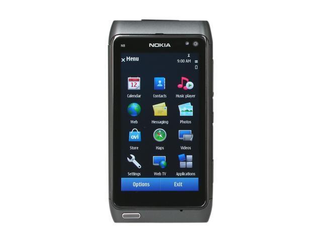 "Nokia N8 16GB Unlocked GSM Smart Phone w/ 12MP Camera / 3.5"" AMOLED Touch Screen / GPS / Wi-Fi 3.5"" Gray"