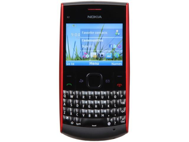 Nokia  Black/Red Unlocked GSM Bar Phone with Full QWERTY Keyboard / Bluetooth v2.1 (X2-01)