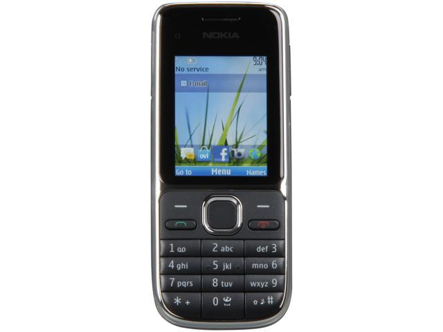 "Nokia C2-01 43 MB, 64 MB RAM, 128 MB ROM Unlocked GSM Bar Phone with 3.2MP Camera 2.0"" Black"