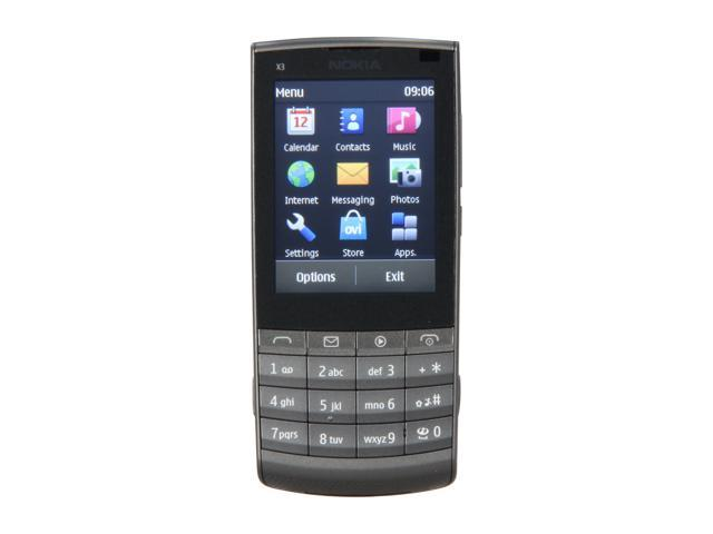 """Nokia Touch and Type X3-02 64 MB Unlocked GSM Touch Screen Phone with 5MP Camera / Wi-Fi 2.4"""" Dark Metal"""