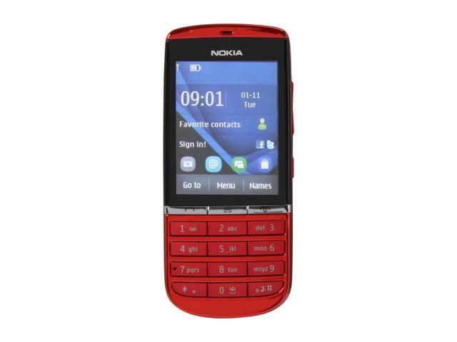 Nokia Asha 300 Red 3G Unlocked GSM Bar Phone / 5 MP Camera / 2.4