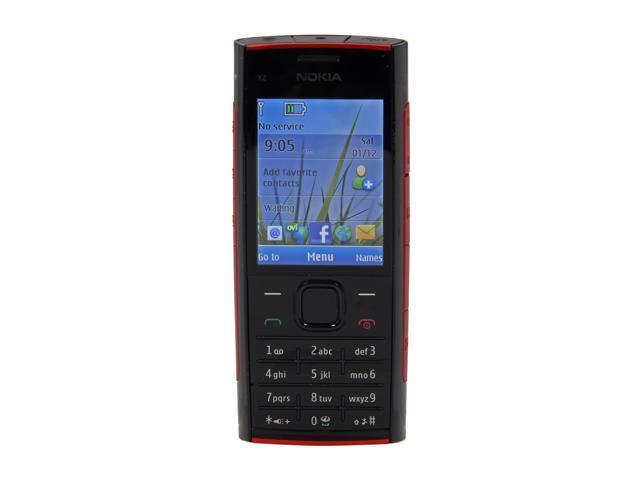 Nokia X2-00 Red/Black Unlocked GSM Bar Phone / 5 MP Camera / Music / Bluetooth / 2.2