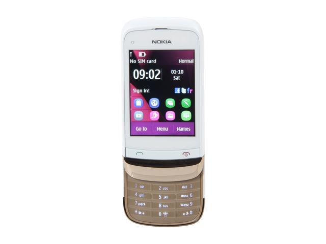 "Nokia Touch and Type US C2-02 10 MB Unlocked GSM Slide Phone / 2 MP Camera / Bluetooth / Music / 2.6"" Touchscreen 2.6"" White/Gold"