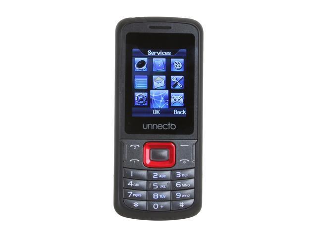 "Unnecto ECO 64 MB Unlocked Bar Phone w/ Dual Sim 1.77"" Black / Red"