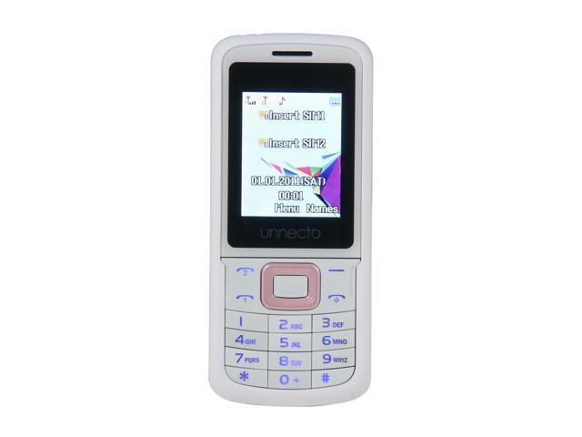 "Unnecto ECO 64 MB Unlocked Bar Phone w/ Dual Sim 1.77"" White / Pink"