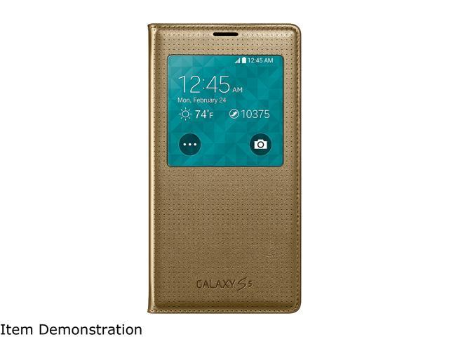 SAMSUNG S-View Perforated Gold Galaxy S5 Flip Cover EF-CG900BDESTA