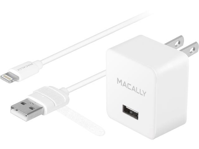 Macally MHome12L Apple MFI Certified Home Charger with Detachable Lightning Manageable Cable for iPad & iPhone