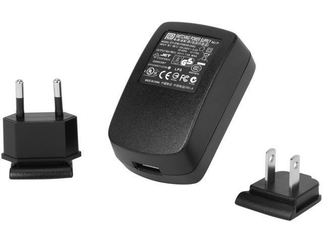 IOGEAR GPA60002 Black 1A USB Power Adapter w/US & EU Plugs