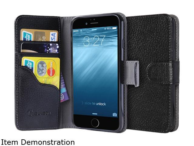 i-Blason Leather Book Black Folio Wallet Case for iPhone 6 / 6s iPhone6-4.7-Leatherbook-Black