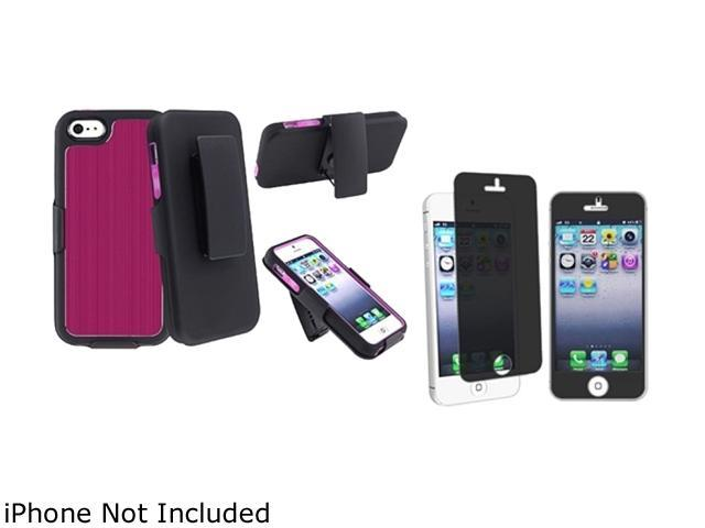 Insten Hot Pink Brushed Aluminum Swivel Holster with Stand with FREE Privacy Filter compatible with Apple iPhone 5 - 803656