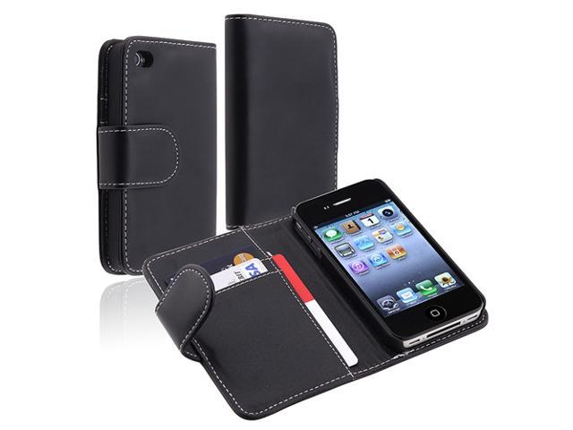 Insten Black Wallet Leather Cover Case+Cable+Car Charger For iPhone 4 4G 4th 4S