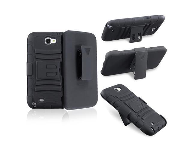 Insten 3 packs of Hybrid Holster with Stand Case Covers : White Skin / Black Hard, Blue Skin / Black Hard, Black Skin / Black Hard Compatible with Samsung Galaxy Note II N7100