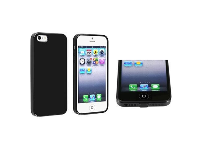 Insten Black Jelly TPU Rubber Skin Case + Black Docking Port Plug Cap Compatible with Apple iPhone 5
