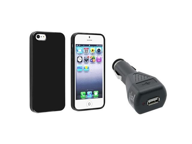 Insten Black Jelly TPU Rubber Skin Case + Car Charger Adapter Compatible with Apple iPhone 5