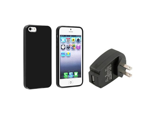 Insten Black Jelly TPU Rubber Skin Case + Travel/Wall Charger Compatible with Apple iPhone 5