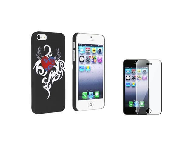 Insten Black/White/Red Heart Clip-on Rubber Coated Case with Clear Screen Protector Compatible With Apple iPhone 5 / 5s 861250