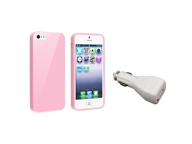 Insten Light Pink Jelly TPU Rubber Skin Case + White Car Charger Adapter Compatible with Apple iPhone 5