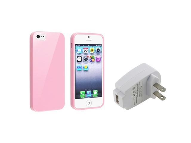 Insten Light Pink Jelly TPU Rubber Skin Case + White Home/Wall Charger Adapter Compatible with Apple iPhone 5