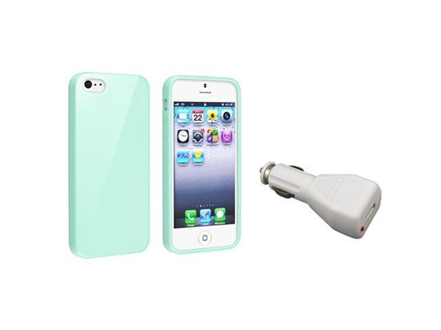 Insten Mint Green Jelly TPU Rubber Skin Case + White Car Charger Adapter Compatible with Apple iPhone 5