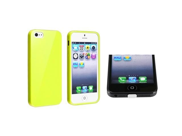 Insten Yellow Jelly TPU Rubber Case + White Docking Port Cap Compatible with Apple iPhone 5