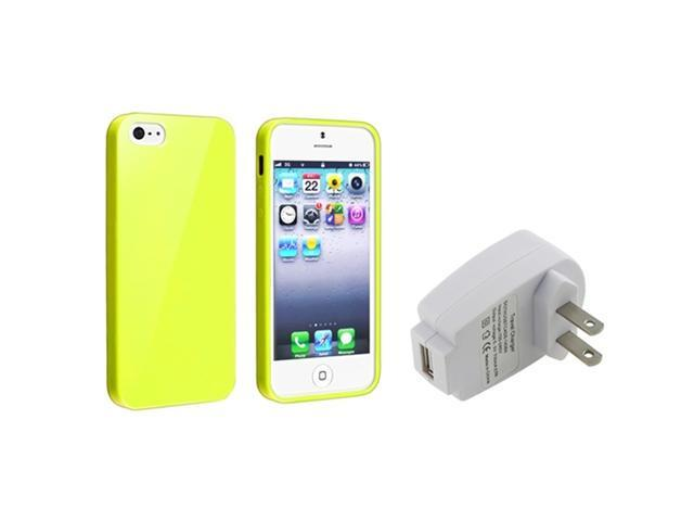 Insten Yellow Jelly TPU Rubber Case + White Home/Wall Charger Adapter Compatible with Apple iPhone 5