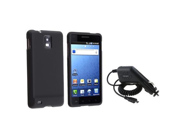 Insten Black Hard Case + Car Charger For Samsung Infuse 4G i997
