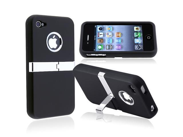 Insten Black St+ Hard Hybrid Case Skin Cover + Car Mount Holder Kit For iPhone 4 4G 4S