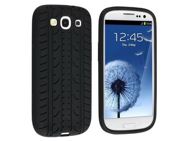 Insten Black Tyre Skin Case + Mirror Film + Silver Stylus For Samsung Galaxy S III S3 i9300