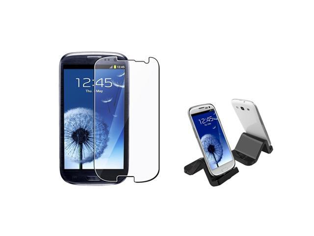 Insten S-Shape Black Cradle + Reusable Screen Protector Compatible With Samsung Galaxy S III