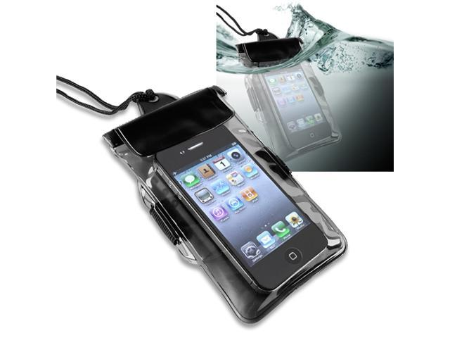 Insten Black Waterproof Bag w/Armband Case + Cord And Car Charger Compatible With iPhone 5 / 5s / 5c / 4 / 4s 908873