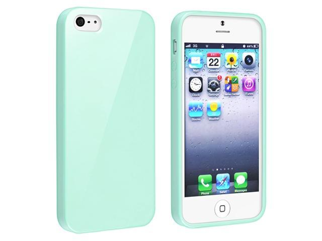 Insten Mint Green Jelly TPU Cover Case Skin + White Home + Car Charger Compatible With Apple iPhone 5 / 5S
