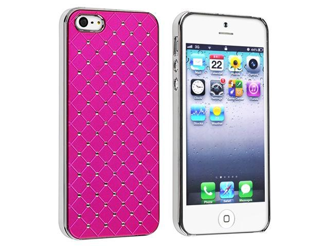 Insten Hot Pink Diamond Gem Leather Hard Case Skin + Wall + Car Charger Compatible With Apple iPhone 5 5th G