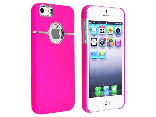 Insten Hot Pink w/Chrome Hole Rubber Hard Case Cover + Wall + Car Charger Compatible With Apple iPhone 5 G