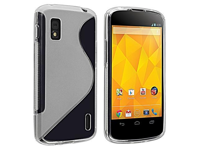 Insten Clear S Shape TPU Rubber Skin Case + Reusable Screen Protector Compatible with LG Nexus 4 E960
