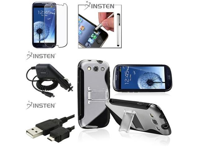 Insten 5 item Black TPU Case+Clear SP+ Charger+USB For Samsung Galaxy S III i9300