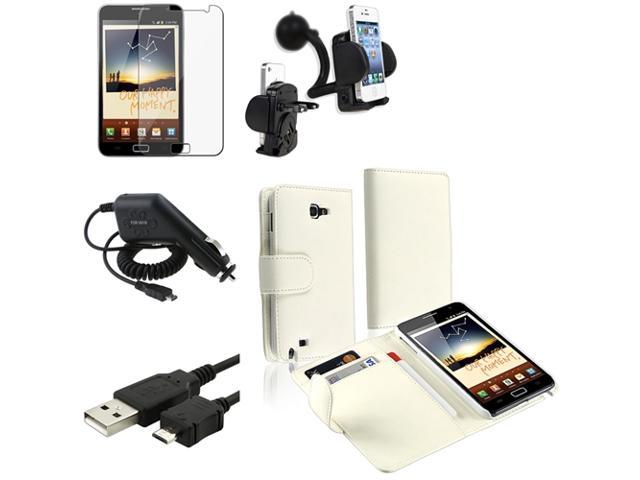 Insten 5in1 Accessory Flip Leather Case+Charger+Car Mount For Samsung Galaxy Note N7000