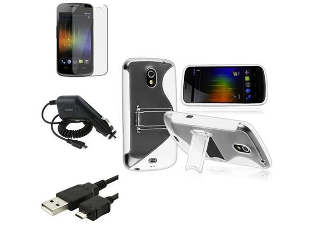 Insten White TPU Skin Case+Clear Film+Cord+Car Charger For Samsung Galaxy Nexus i9250