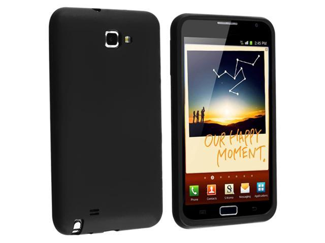 Insten Black Silicone Skin Case + Mirror Screen Protector Compatible with Samsung Galaxy Note N7000