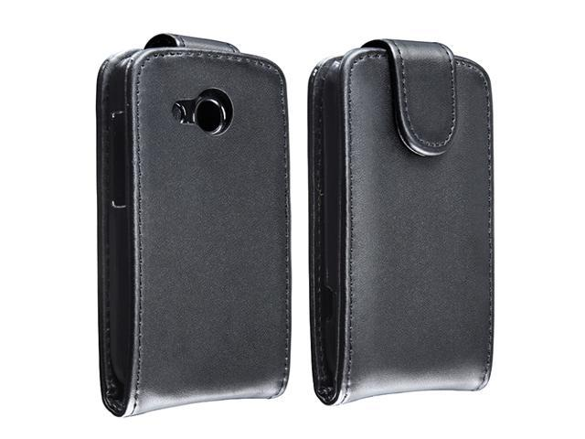 Insten Black Leather Flip Case with  Black In-ear (w/on-off) Stereo Headsets Compatible with HTC Desire C