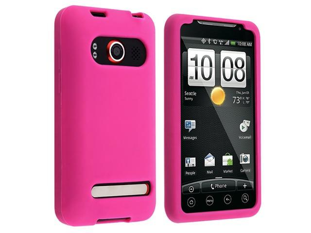 Insten Hot Pink Silicone Case + Privacy Screen Protector Compatible With HTC EVO 4G / Supersonic