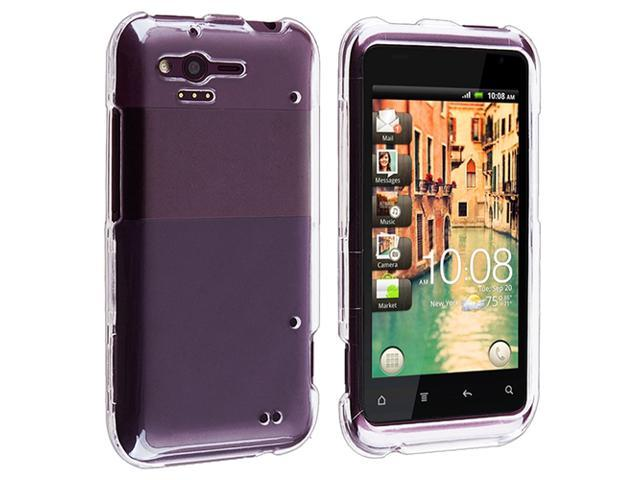 Insten Clear Crystal Snap-on Case Cover With Black Micro USB Data Charging Cable Compatible With HTC Rhyme
