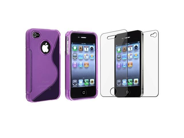 Insten Purple TPU Case Hard Gel Body Cover for Apple iPhone 4 4S Verizon Sprint AT&T