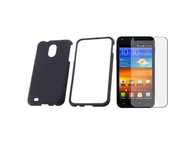 Insten Black Rubberized Case + Clear Protector For Samsung Epic 4G Touch Sprint Galaxy S2