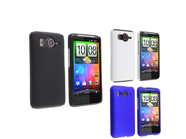 Insten Black + White + Blue Rubber Hard Phone Case Cover For HTC Desire HD Ace Inspire 4G