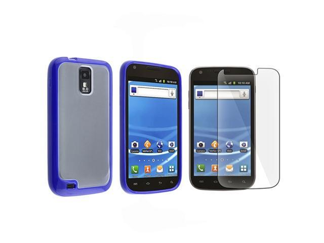 Insten Blue TPU + Clear Soft Skin Case + LCD Protector For Samsung Hercules T989 Galaxy S2