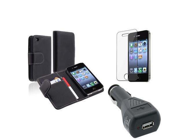 Insten Black Wallet Leather Skin Case + LCD Shield + Car Charger For Apple iPhone 4 4G 4th 4S
